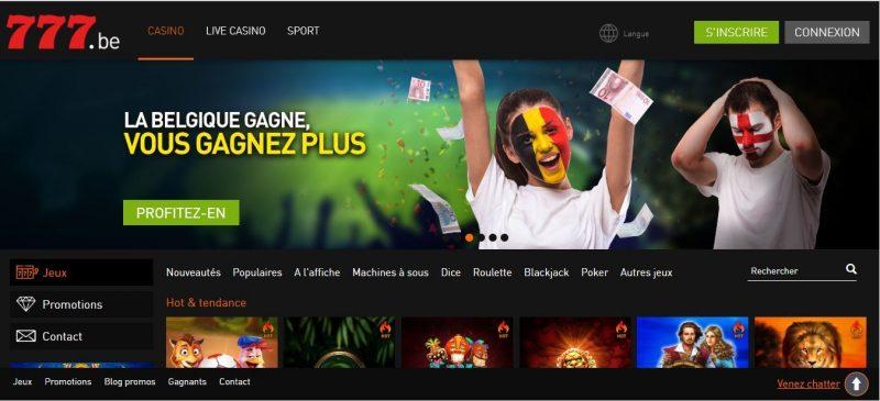 Página inicial do Casino777