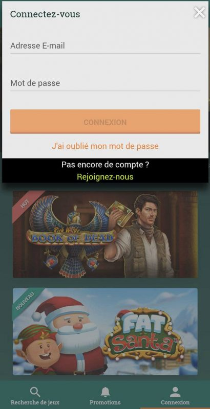 Conexão móvel do Cresus Casino