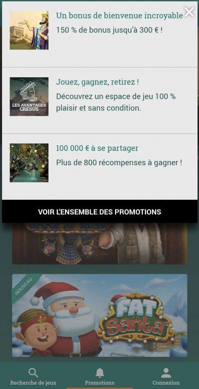 Cresus Casino Promotion Mobile