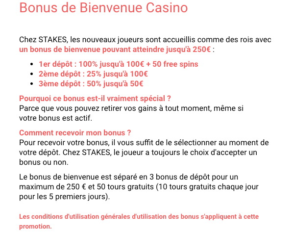 Boas-vindas ao Bónus do Casino Stakes