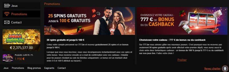 Principais Bónus do Casino777